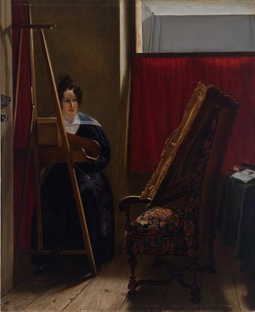 Portrait of the Artist, Seated at Her Easel, Amile-Ursule Guillebaud