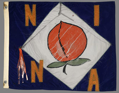 Flag for Nina from the installation Flagship, 1975. Ree Morton