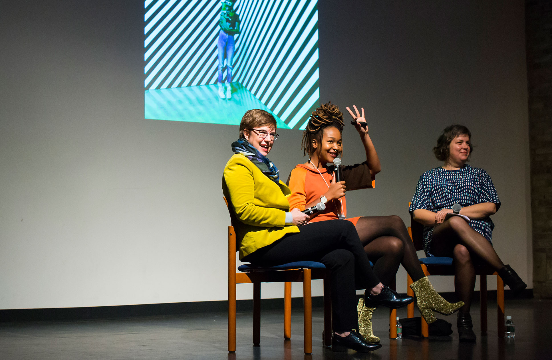 Alumnae engaged in panel discussion at Connecting Art and People Symposium in 2016