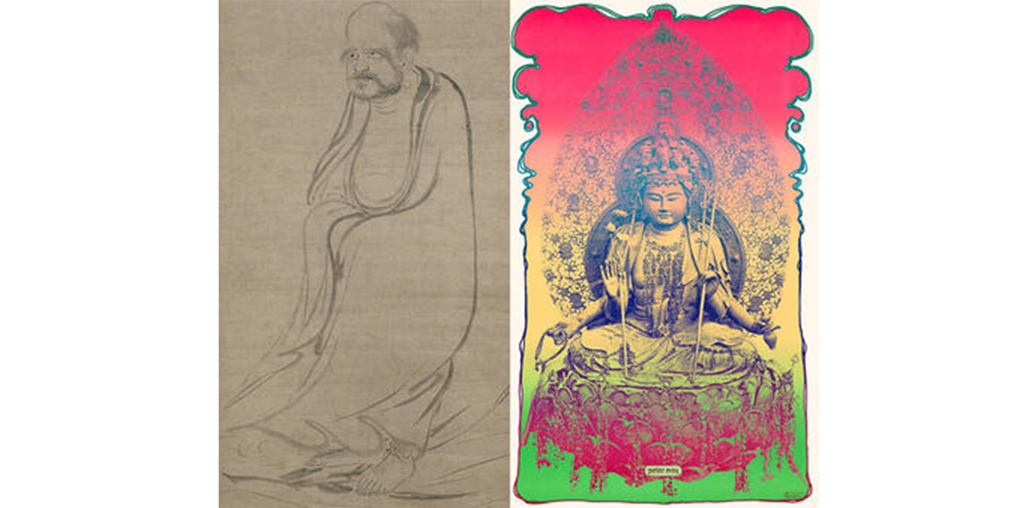 Left: Bodhidharma Crossing the Yangtze River on a Reed  by Sessō Tōyō; Right: Prana by Peter Max