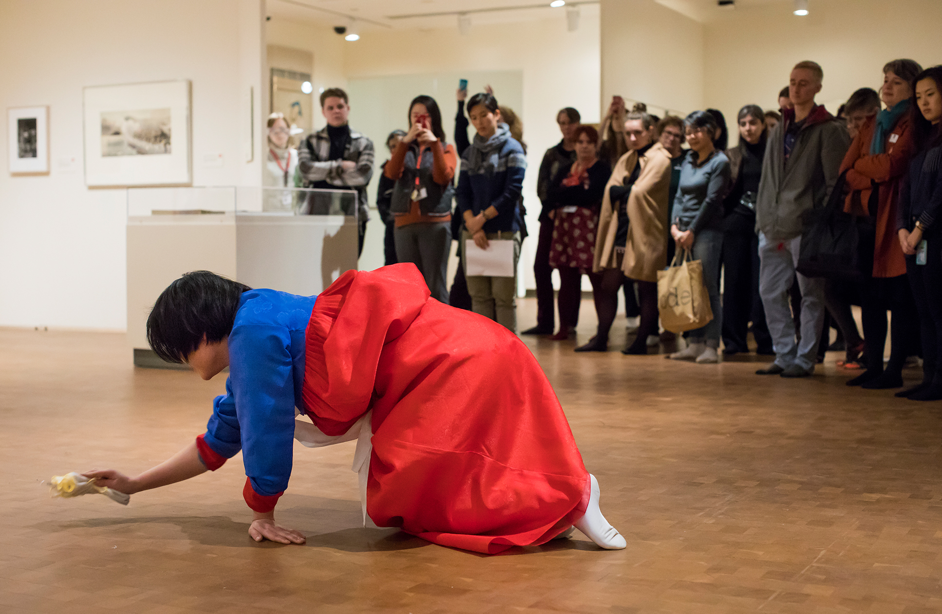 Artist Mina Cheon performance in galleries as part of the North Korean Awareness and Global Peace Projects