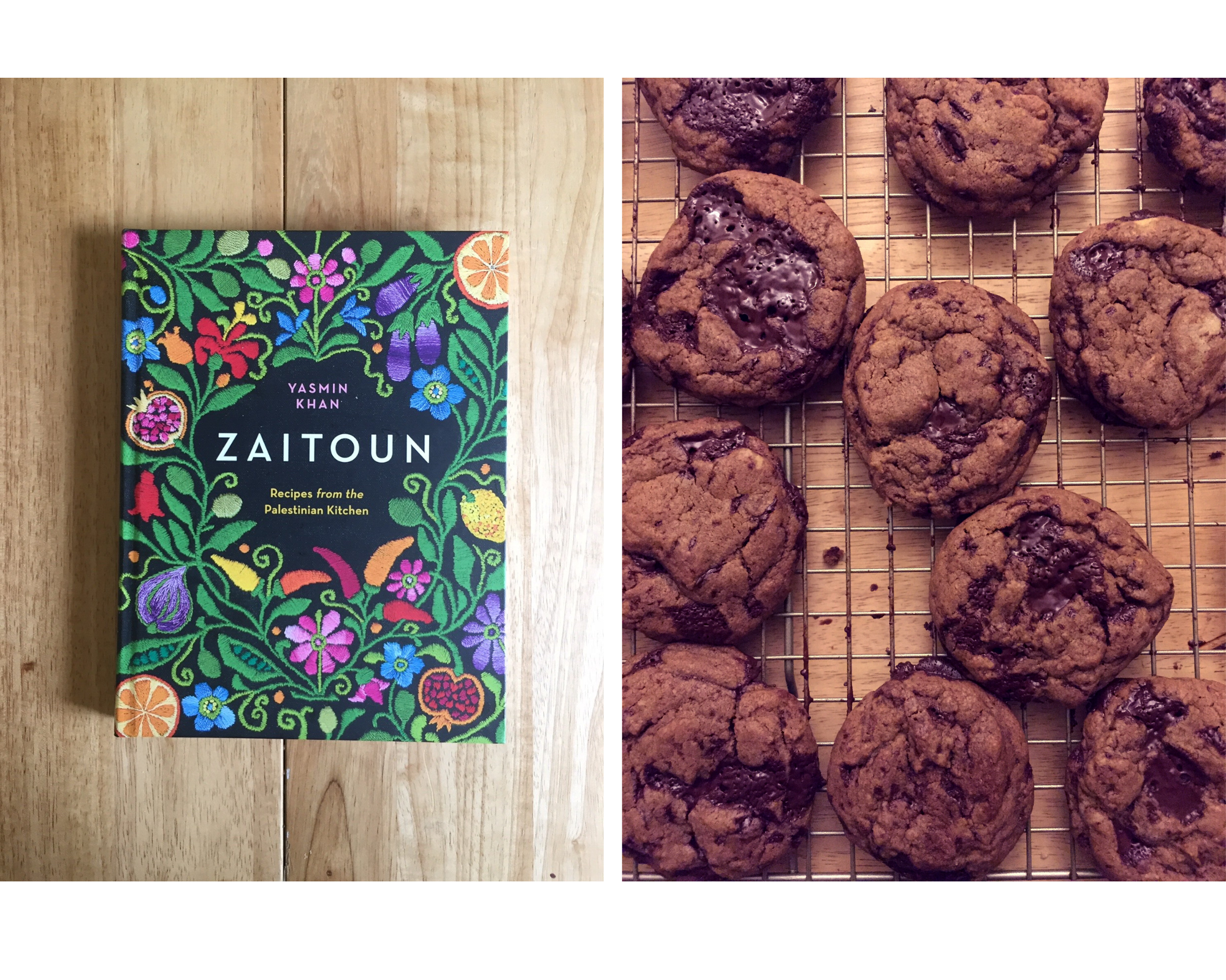 "Yasmine Khan's cookbook, ""Zaitoun: Recipes and Stories from the Palestinian Kitchen"" on the left, chocolate tahini cookies on a cooling rack on the right"