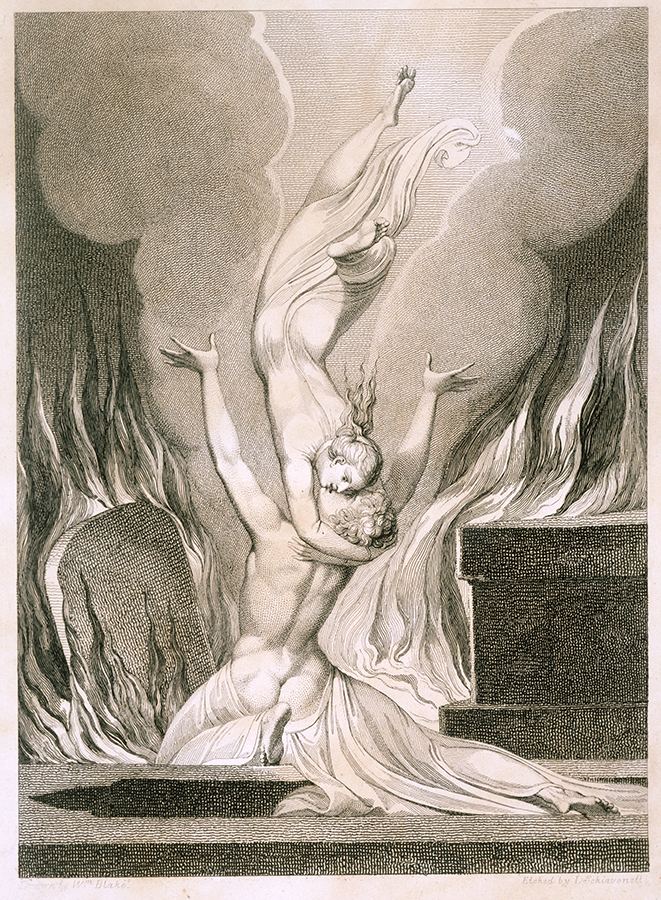 Mystical; two bodies embracing surrounded by fire and tombs; grave; death; spiritual