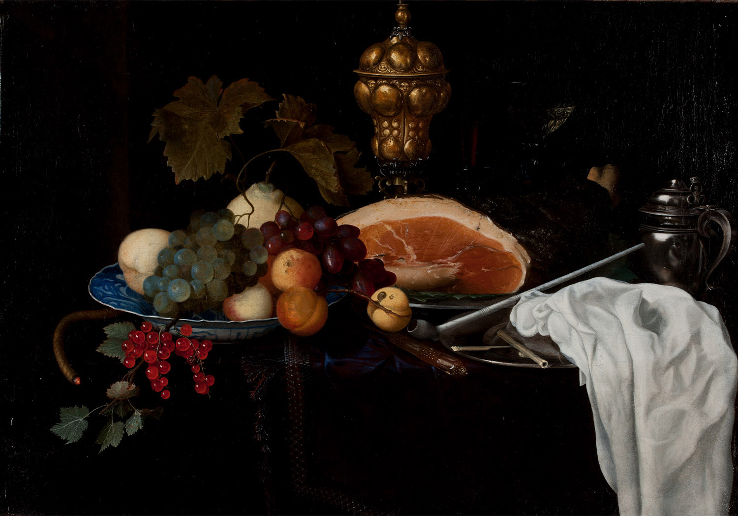 Still Life with Fruit, Meat, Pipe, and Goblets by Maria van Oosterwyck (1630–1693)