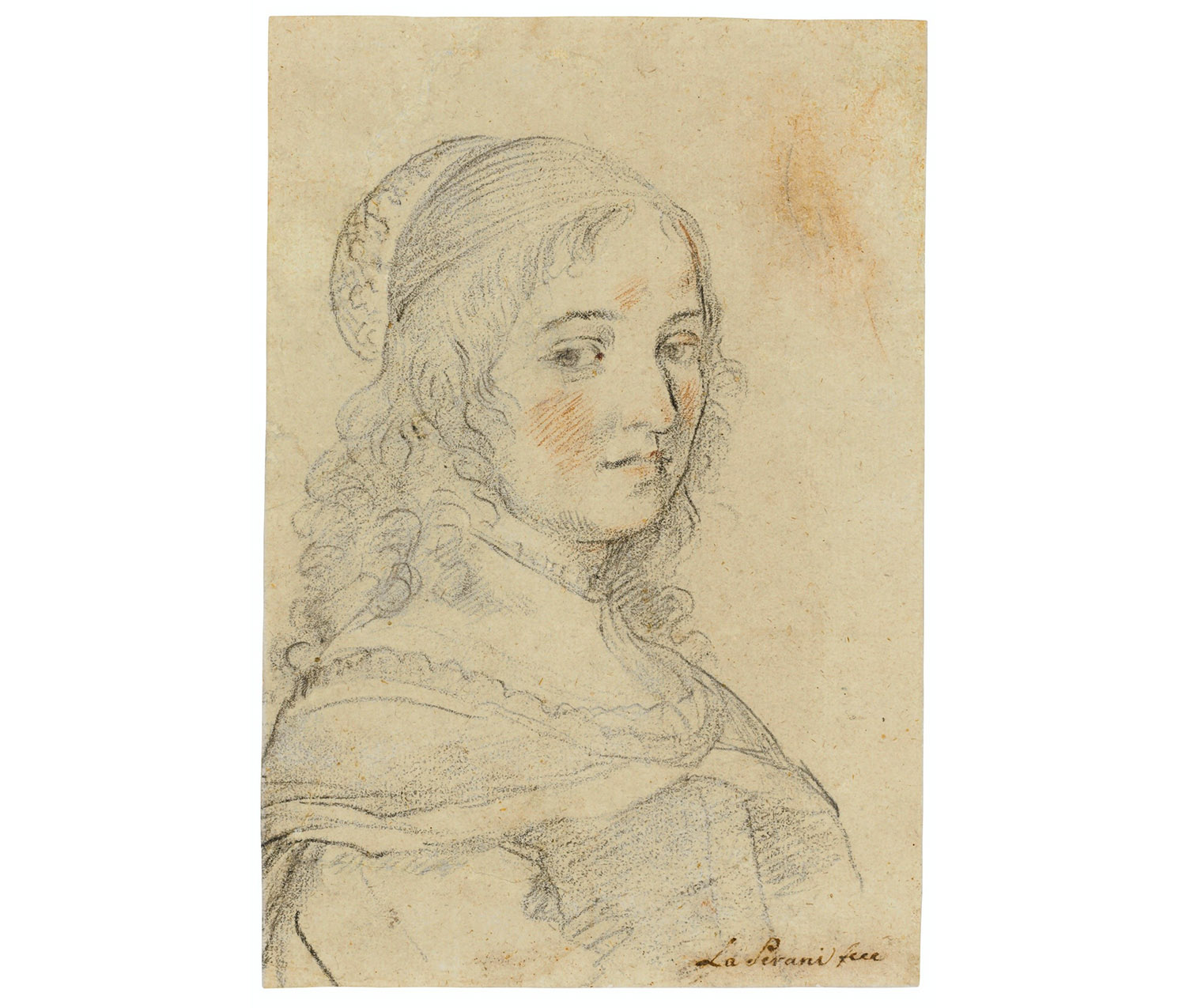 Elisabetta Sirani. Italian, 1638-1665 Self-portrait, ca. 1658, Black and red chalk SC 2020.7.1 Credit line (TBD)