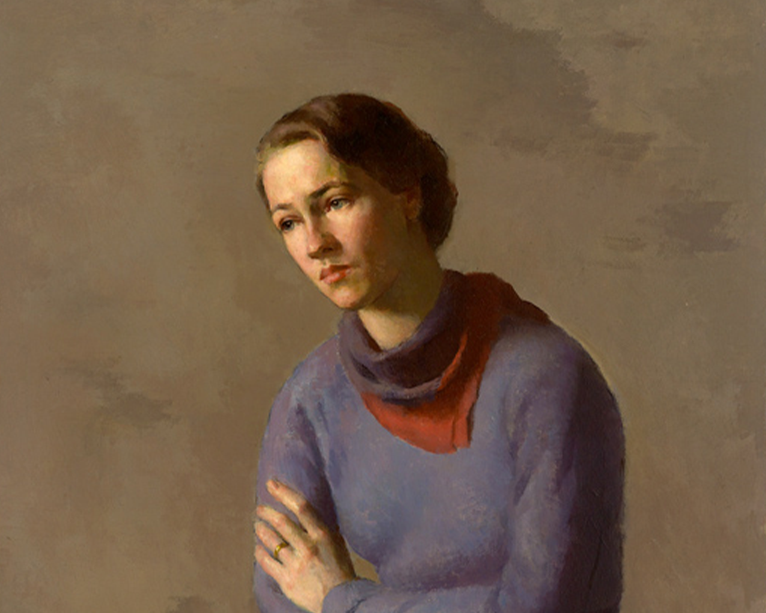 This detail of Anne Morrow Lindbergh shows her bust. Slightly hunched over with a sad expression on her face, she wears a purple sweater and red scarf and looks slightly downward.