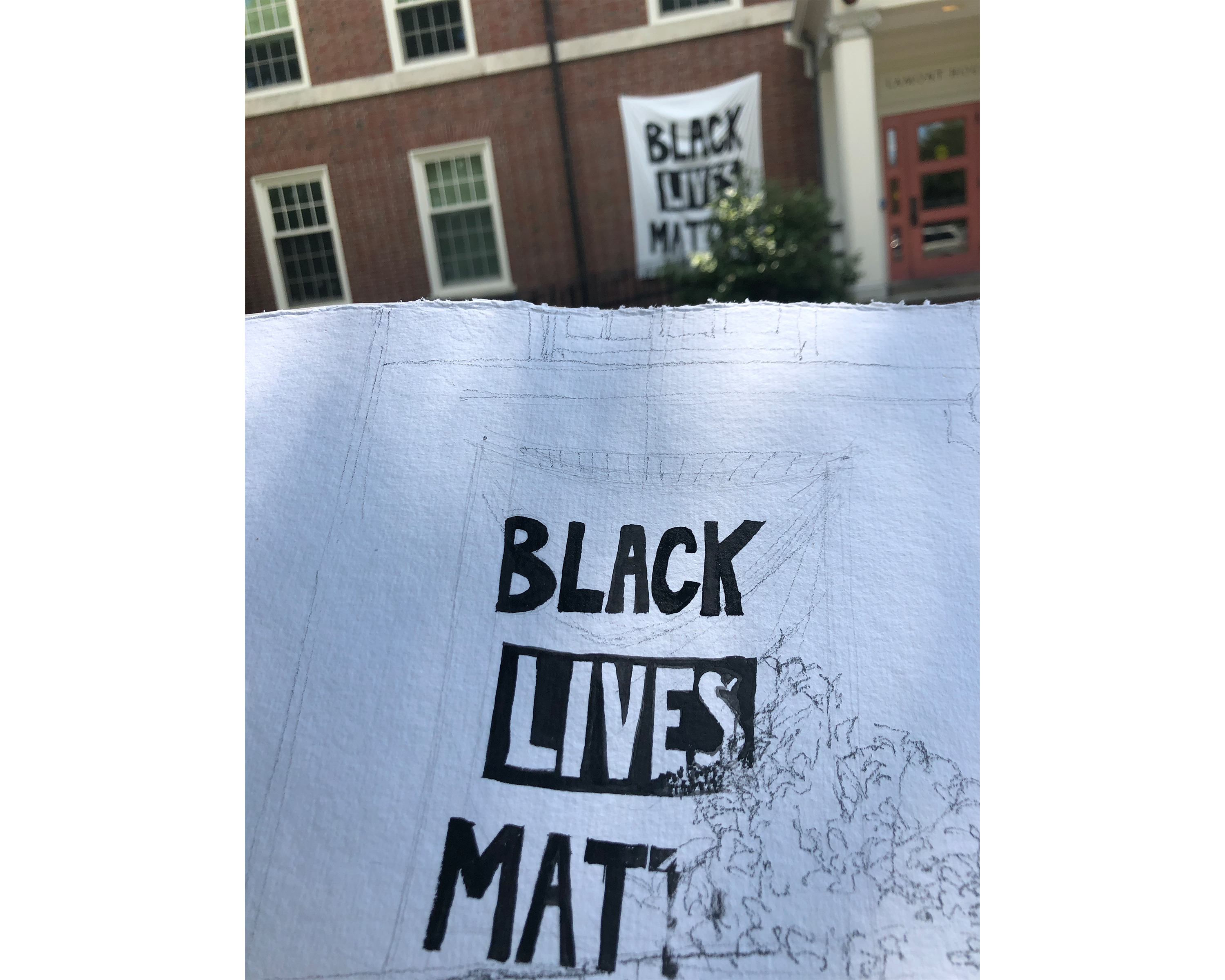 Amanda Williams drawing of Smith College BLM dorm/house banner