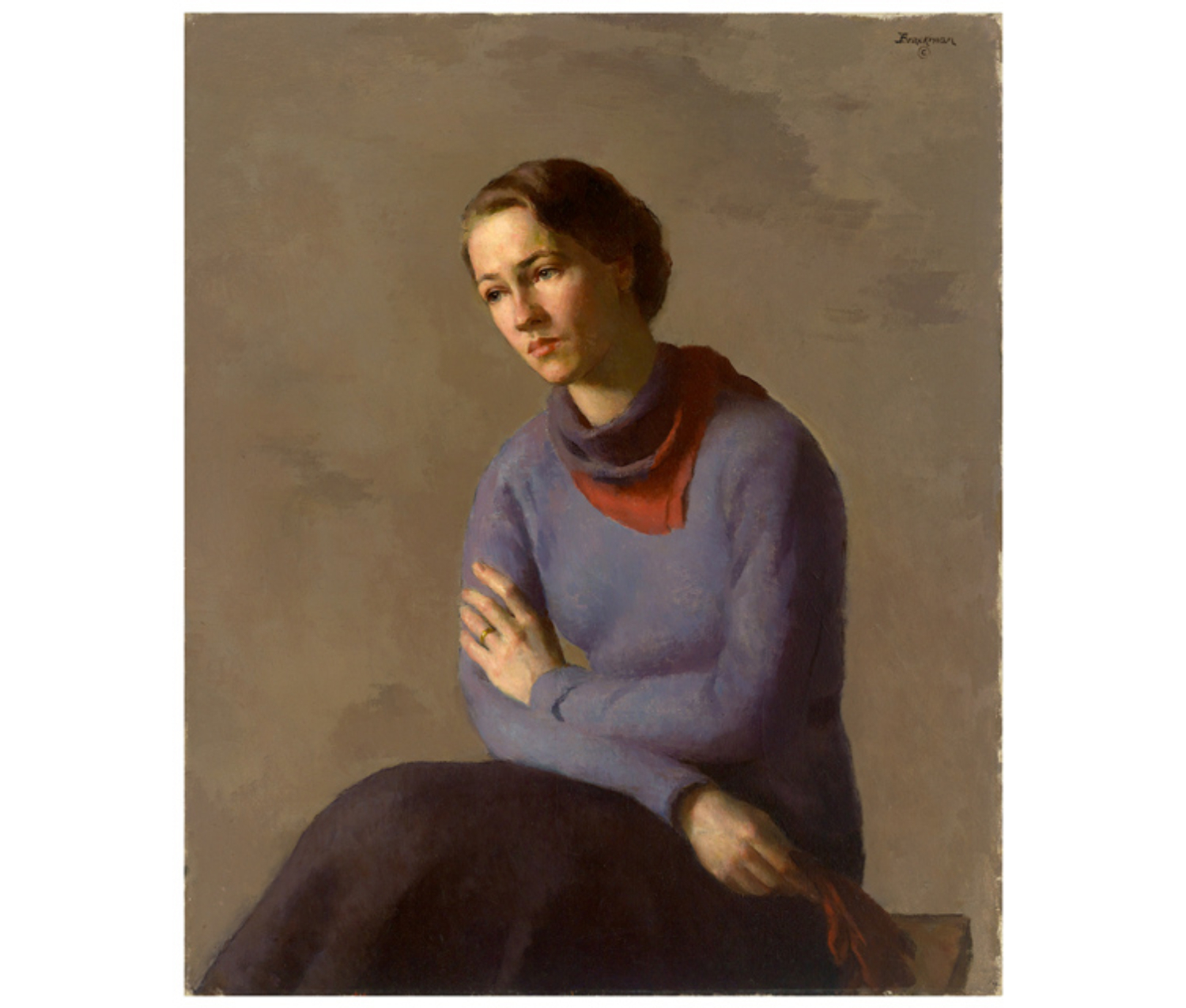 Anne Morrow Lindbergh, in a dark skirt and violet sweater with a red and purple scarf around her neck and her brown hair pulled back, looks sadly down. She is seated in front of a taupe background and holds a pair of red gloves in one hand.