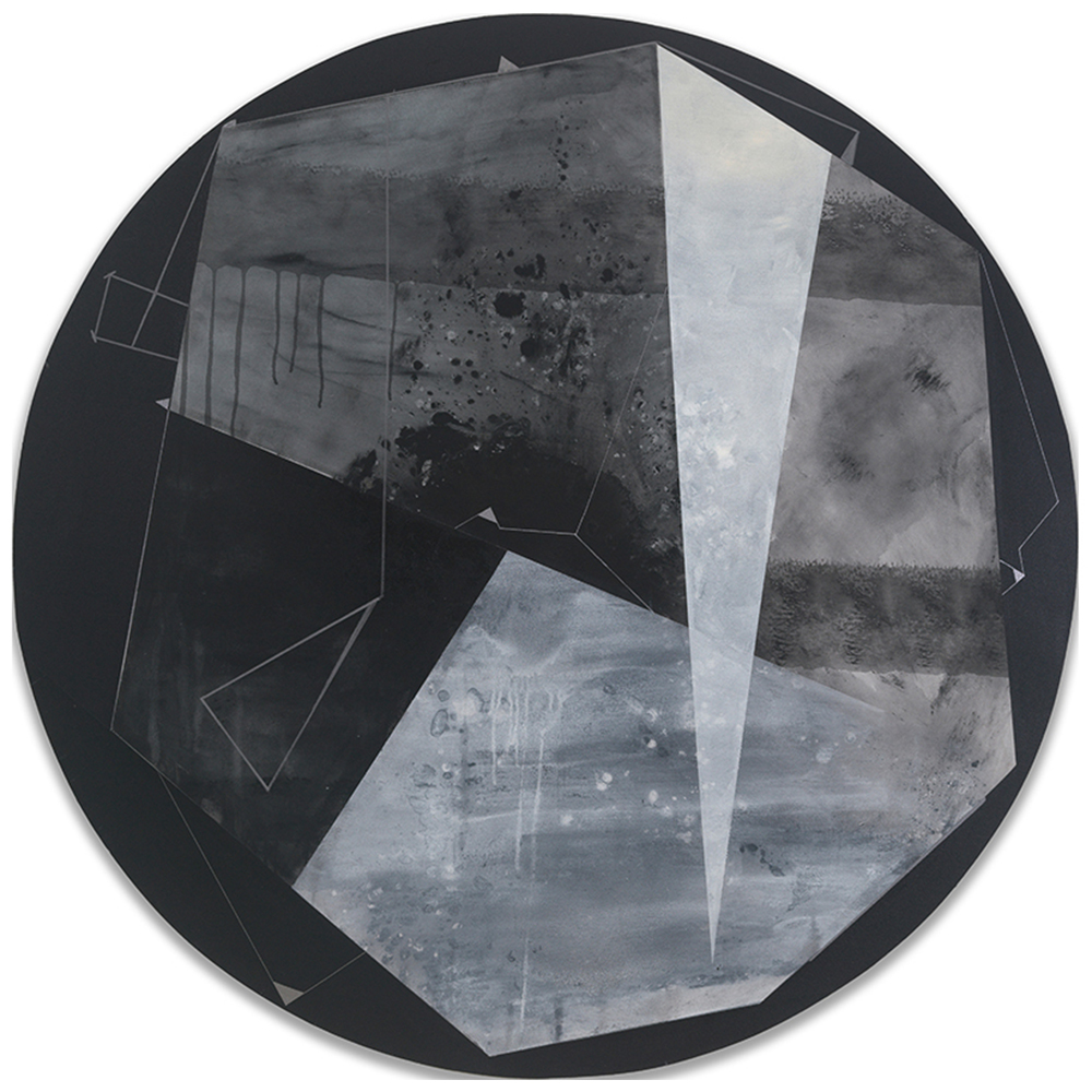 Circular painting of black and grey geometrical shapes.