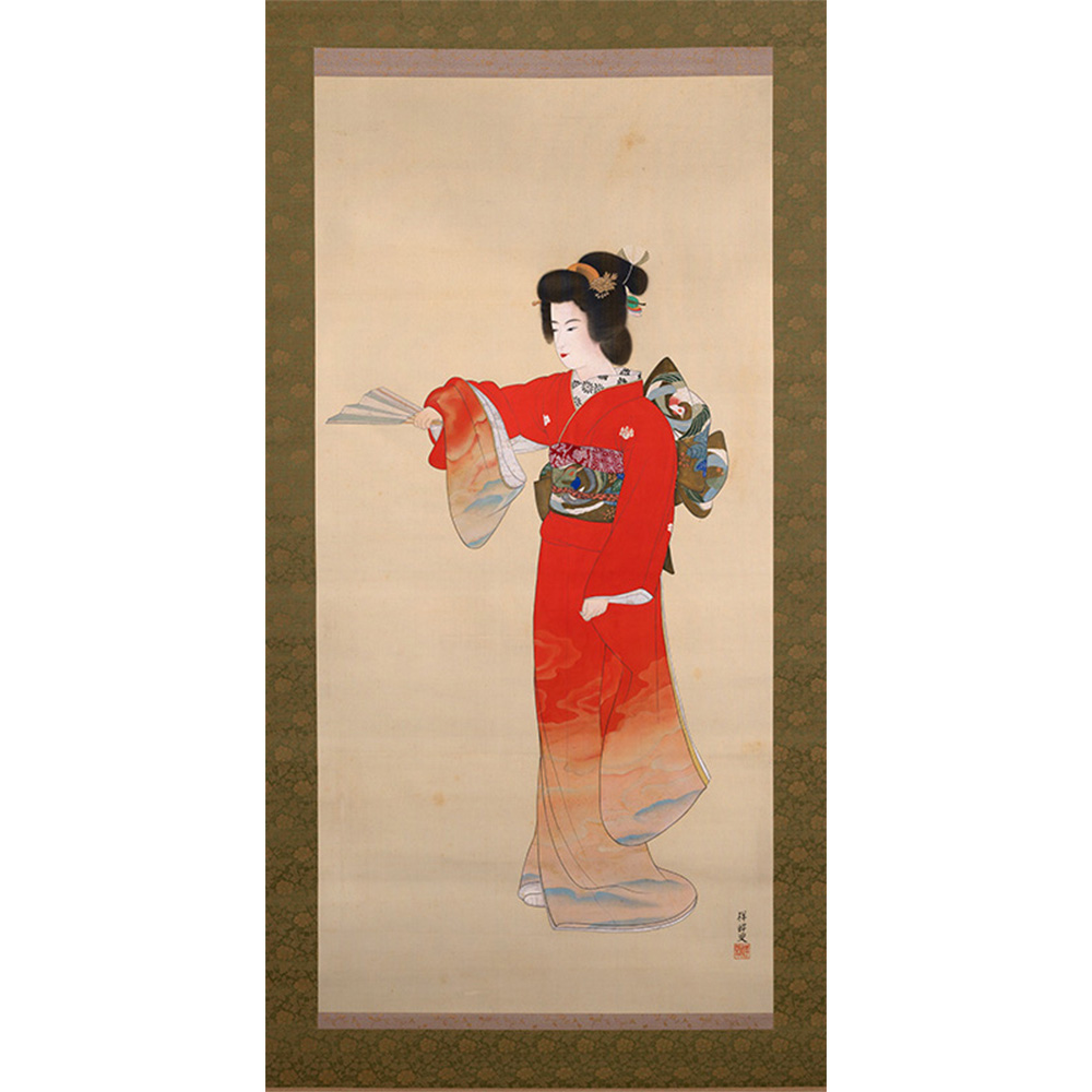 Painted ink scroll of a woman performing Noh Dance.