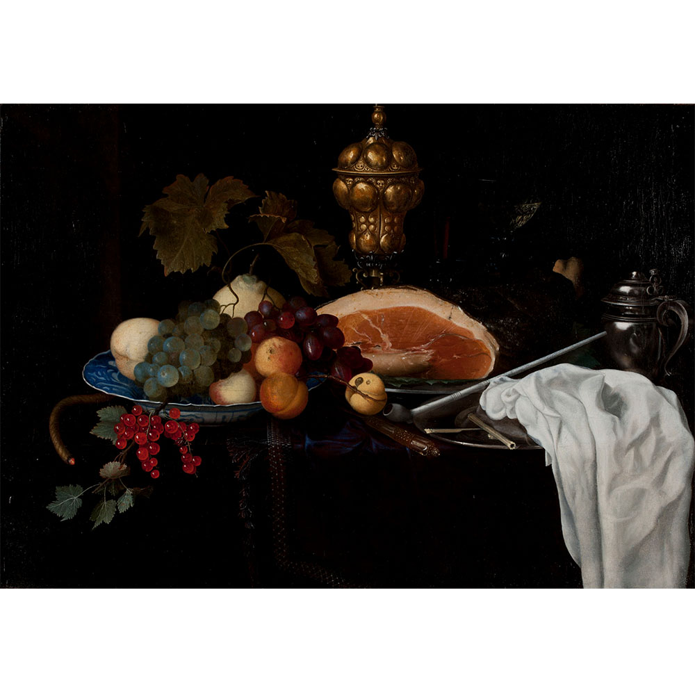 Oil painting still life of fruit, meat, pipe, and goblets