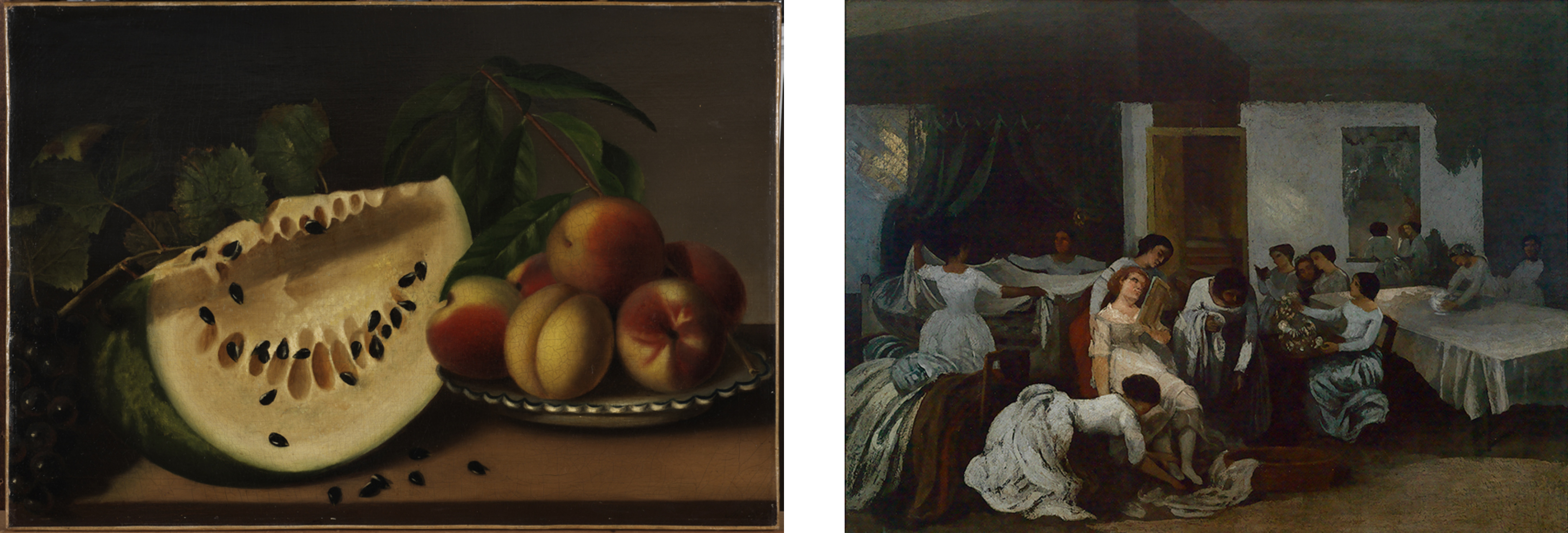 On the left: Peale's Still Life with Watermelon and Peaches: A large slice of yellow melon sits next to a pile of peaches. Some of the black seeds have fallen away from the melon and there is foliage behind the fruit. The colors are somber. On the right: servants in white dresses make up beds, set tables, polish a vase, and dress a seated dead girl in the center. The room is dark but there are small smudges of gold light on the back wall, a table, and the dead girl.