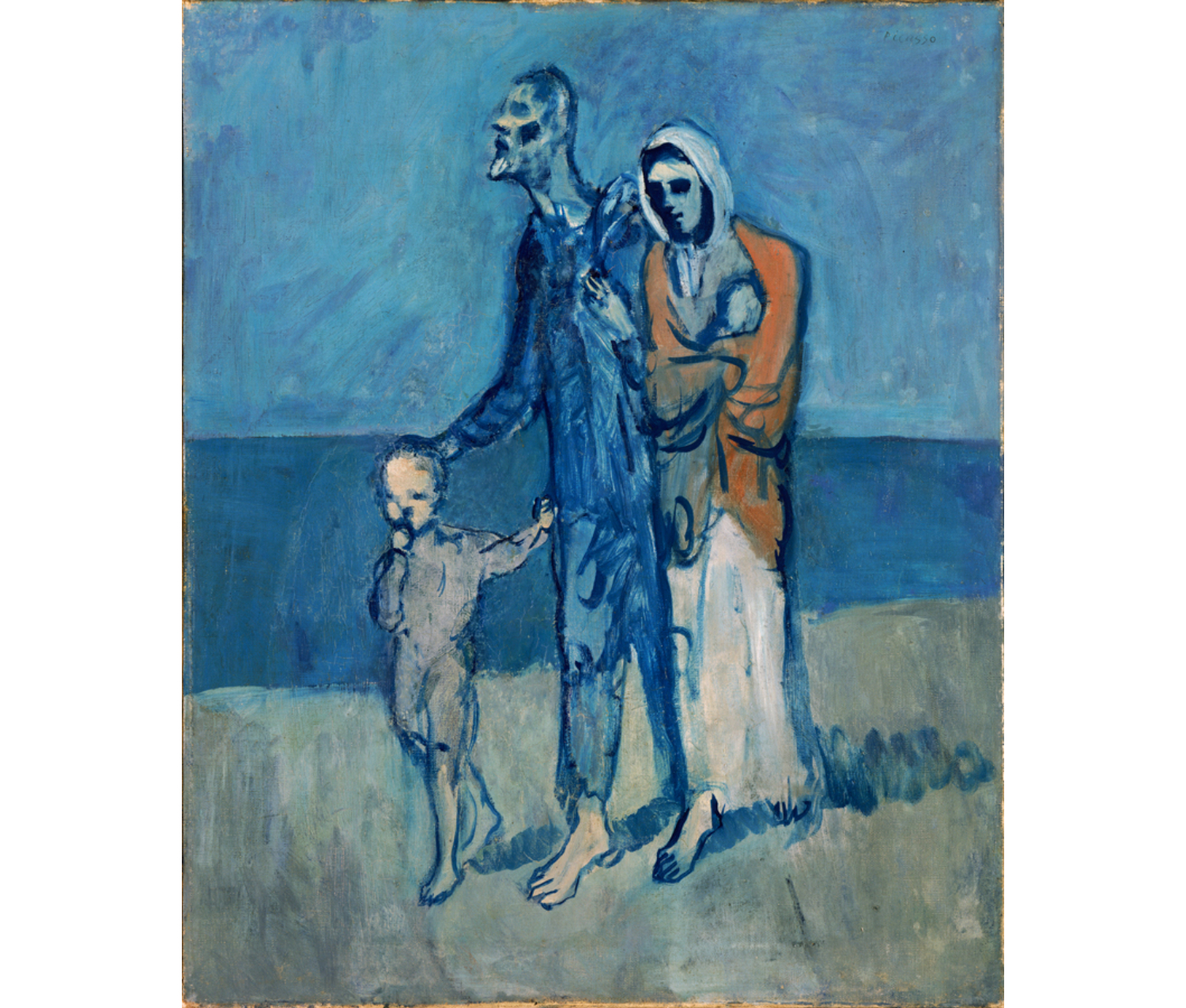 A child, man, and woman walk by the sea. On a background of blues they look forlorn. Their expressions are abstracted and their bodies skeletal.