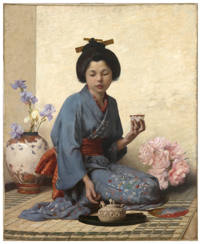 A Cup of Tea. 1883 by American artist Charles Sprague Pearce, 1851–1914.