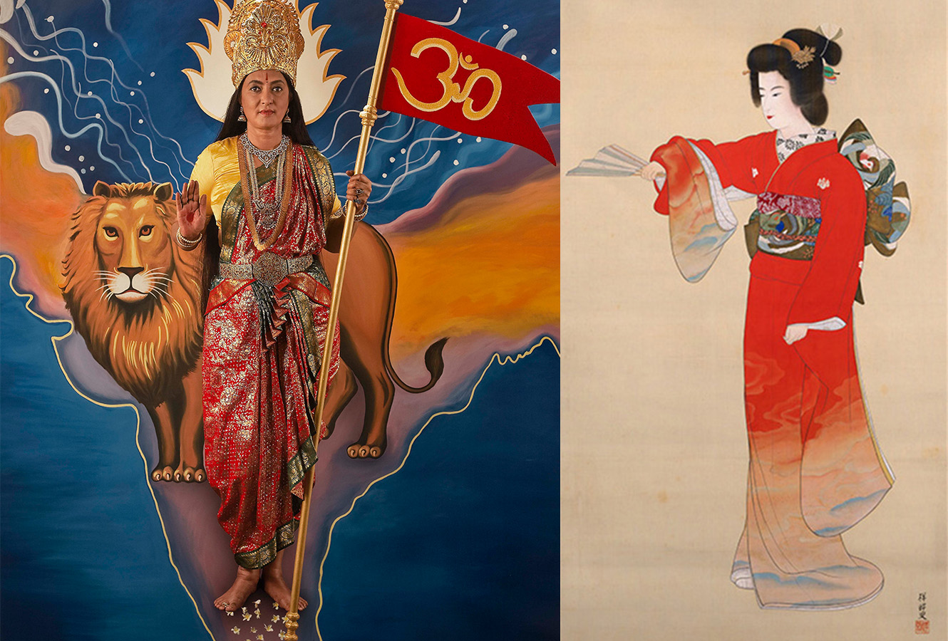 Painted ink scroll of a woman performing Noh Dance. Photo print of woman next to a lion holding a red flag with om symbol.