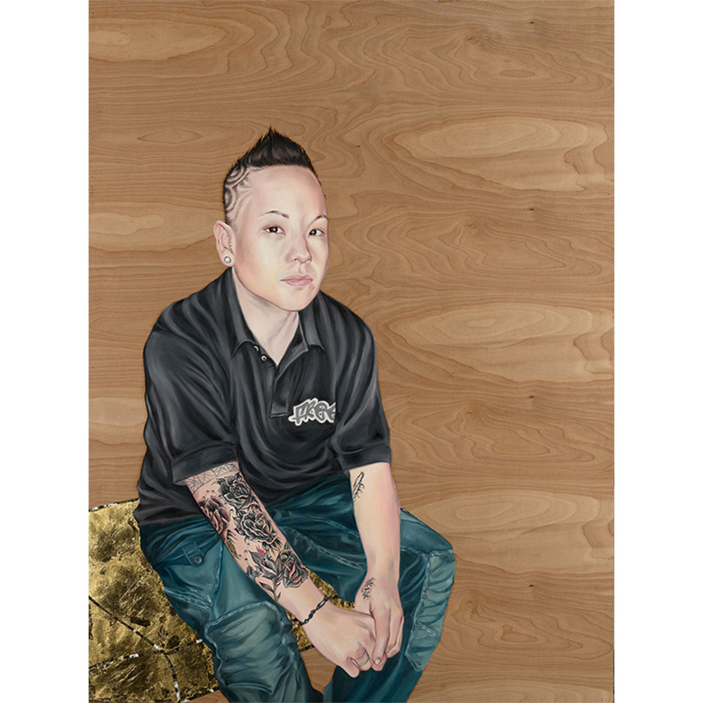 Painting of young person with art tattoo revealed.