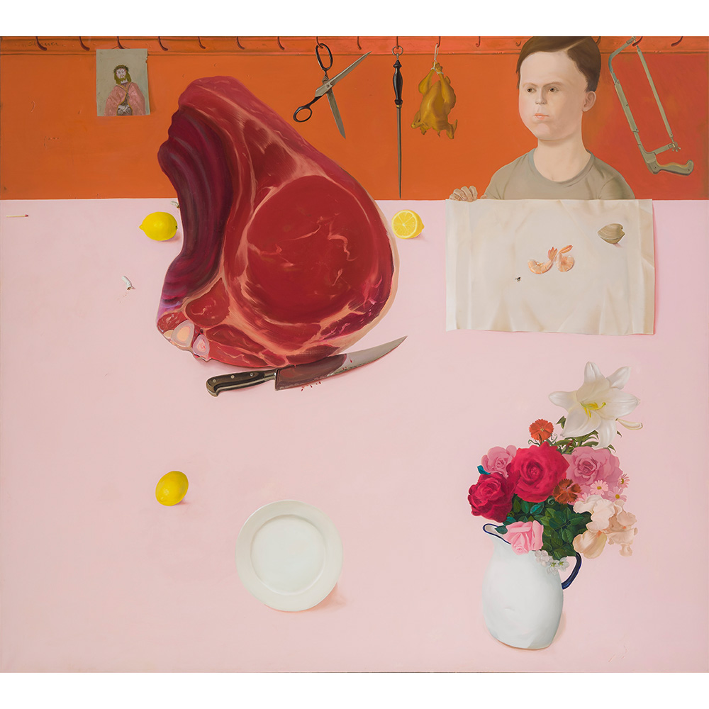 Painting of young woman sitting at pink table with a large raw steak and flowers.