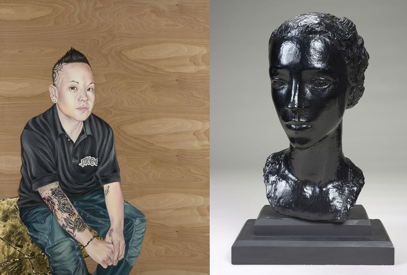 Painting of young person with arm tattoo revealed. Painted sculpture bust of a woman.