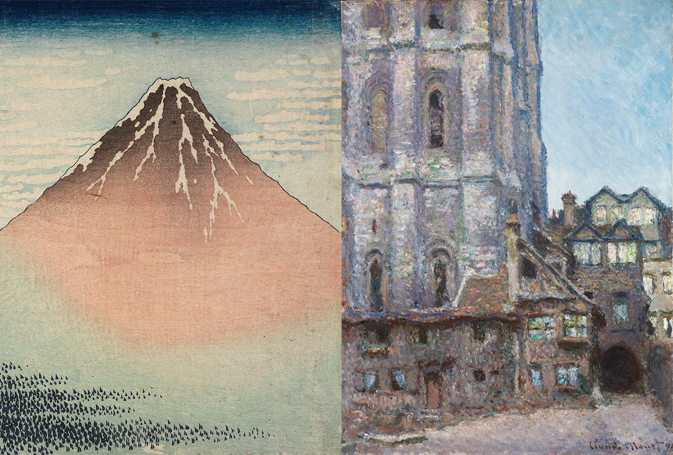 Woodblock print of Mount Fuji. Painting of Cathedral in daylight.