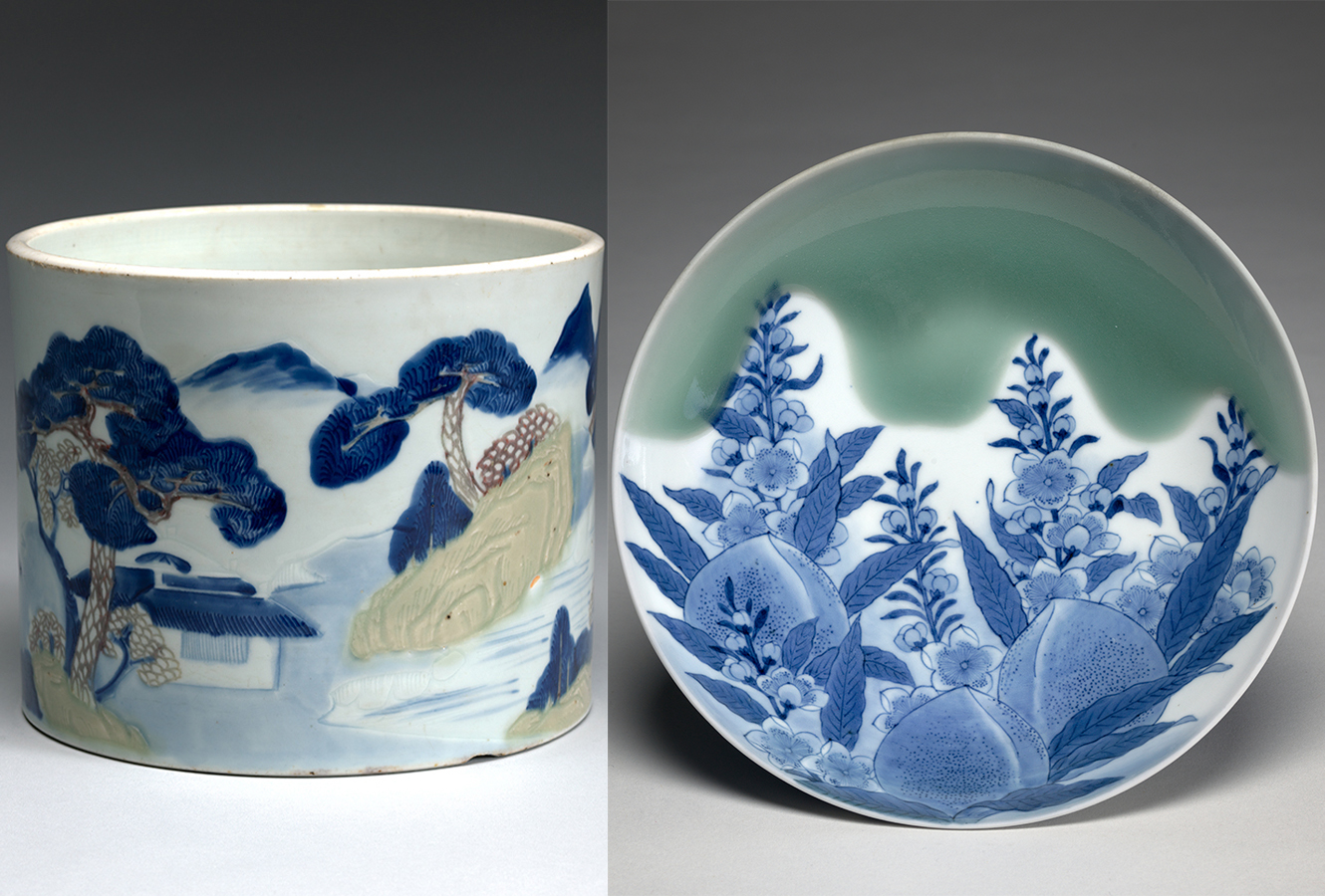 Painted pot with pine designs in blue. Painted plate with a design of peaches and bellflowers.