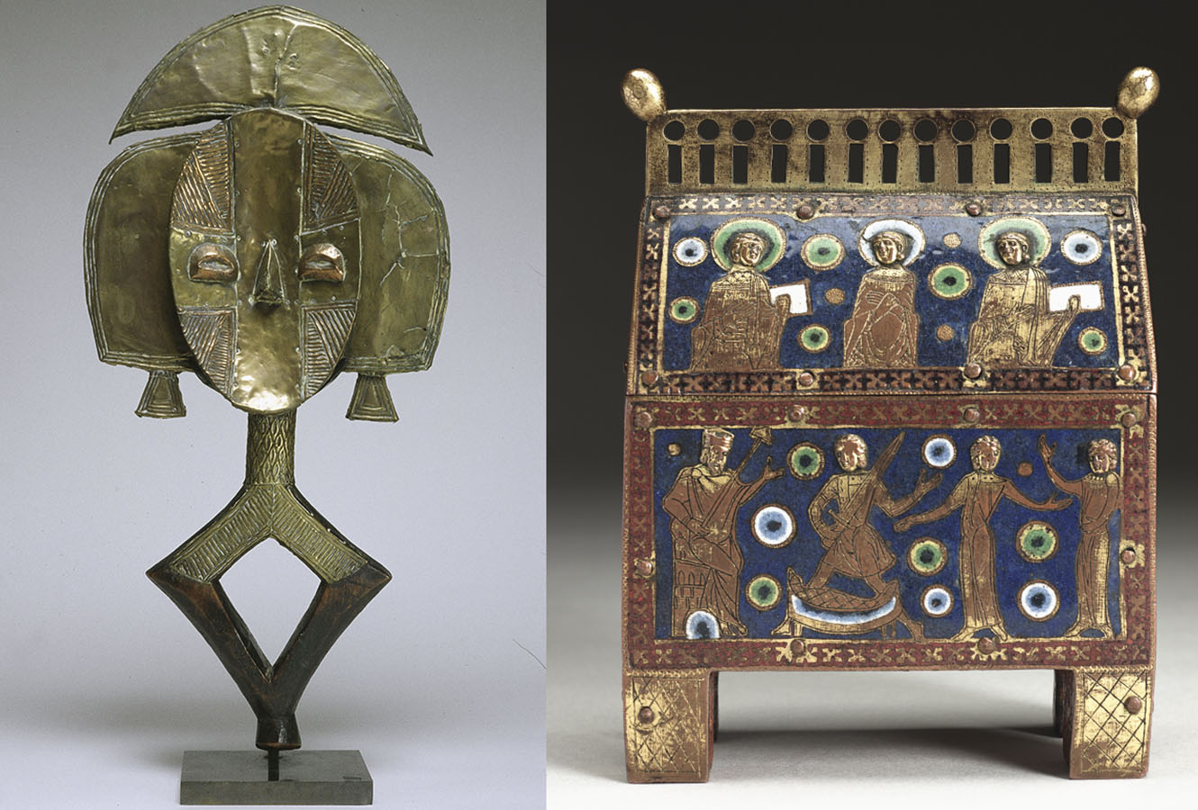 Brass sculpture of an abstract figure. Reliquary decorated with religious figures in enamel.