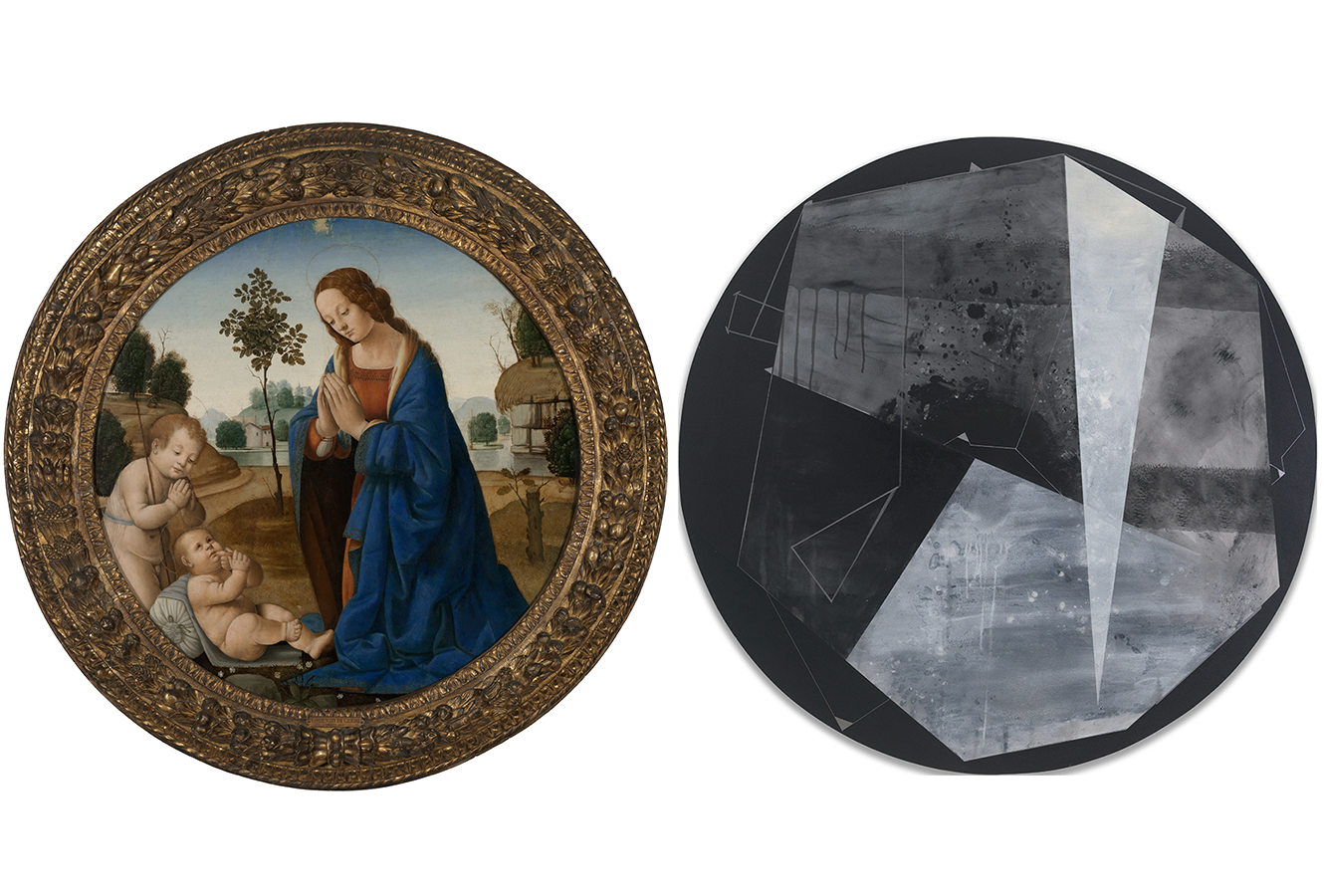 Circular painting of a woman praying. Circular painting of black and gray geometrical shapes.