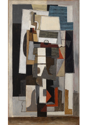 Cubist, abstract; shaded greens and blue shapes; grays, whites, and small shapes of deep red