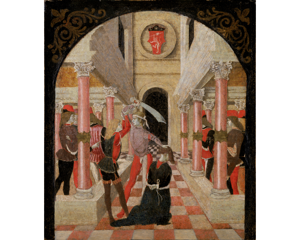 With his left hand, a man holds the head of one man kneeling, bound man; with his right hand he holds a sword above the head of another, who appears to hold his arm still; other figures watch from behind rows of pink pillars; red and white tiled floor and black arched doorway on the back wall