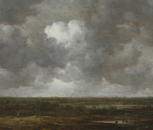 landscape; the sky is dark with billowing clouds, small people and livestock are visible at the fore of the wide, flat land; low collections of buildings can be made out on the horizon