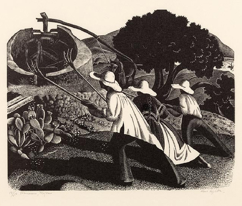 three figures in large floppy hats with farm rakes raised in their hands walk toward a planted area near a large winnower manned by a horse