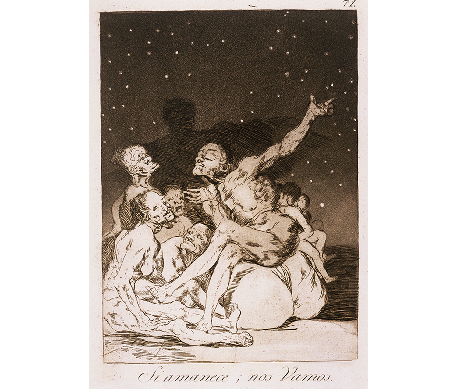 group of naked figures sit under the stars