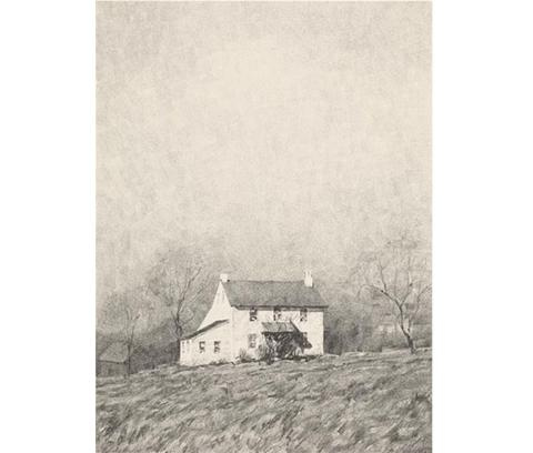 Image of November Sunlight print - black and white image of two-story house with barn behind in center of large empty lawn, surrounded by trees and open sky