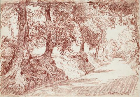 Reddish-brown drawing of a dirt road lined with trees, sun coming through the branches