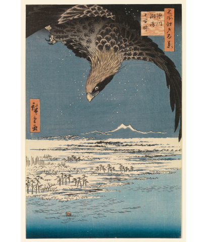 "Utagwa Hiroshige, Japanese (1797-1858). Fukagawa Susaki Jumantsubo from One Hundred Famous Views of Edo, 1857, woodcut printed in color on paper, Gift of Mr. and Mrs. James Barker (Margaret Clark Rankin, class of 1908) ""The Margaret Rankin Barker - Isaac Ogden Rankin Collection of Oriental Art"", SC 1968.467"