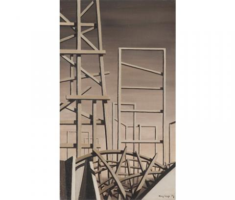 tall wood scaffolding-like shapes on grey background, curved bridge-like scaffolding shape at bottom