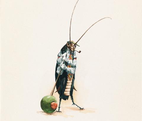Cockroach dressed in a shirt, jacket and tie holding a toothpick stuck in a green olive to his right.